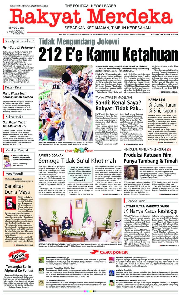 Koran Digital Rakyat Merdeka 02 Desember 2018