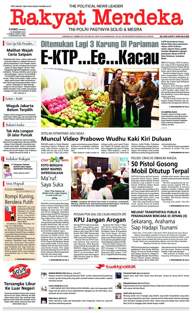 Rakyat Merdeka Digital Newspaper 13 December 2018