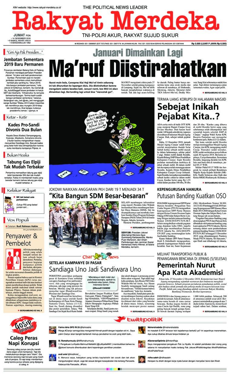 Koran Digital Rakyat Merdeka 14 Desember 2018