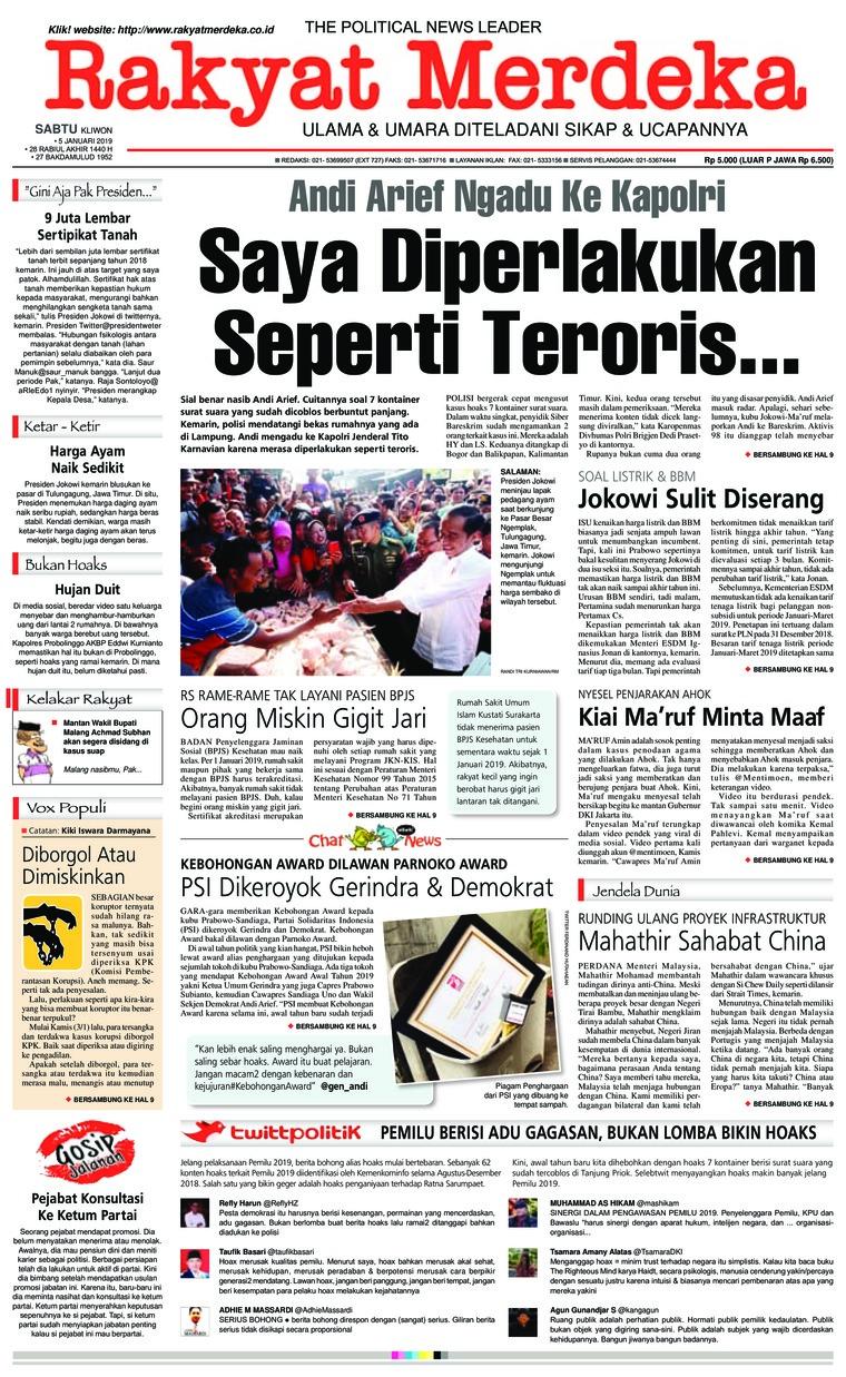 Koran Digital Rakyat Merdeka 05 Januari 2019