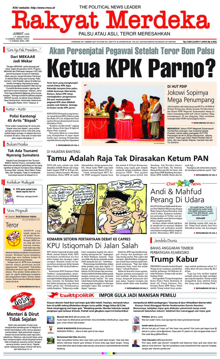 Rakyat Merdeka Digital Newspaper 11 January 2019