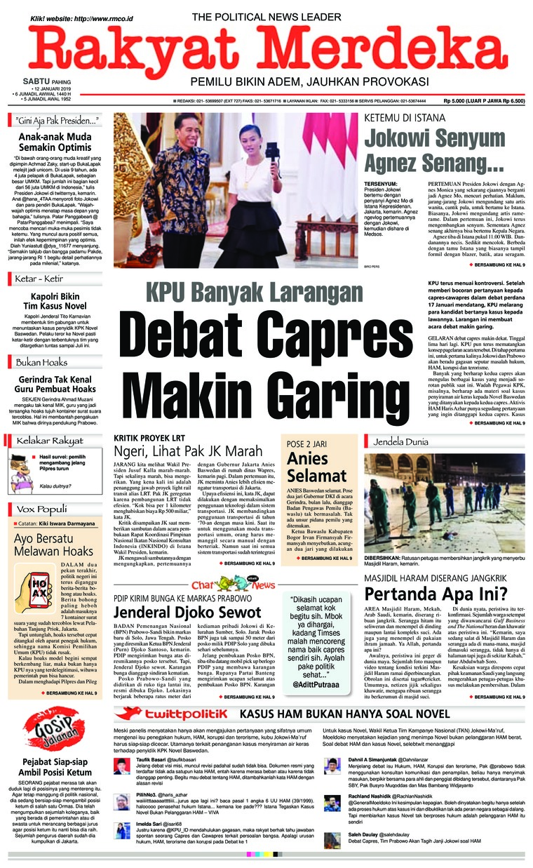Rakyat Merdeka Digital Newspaper 12 January 2019