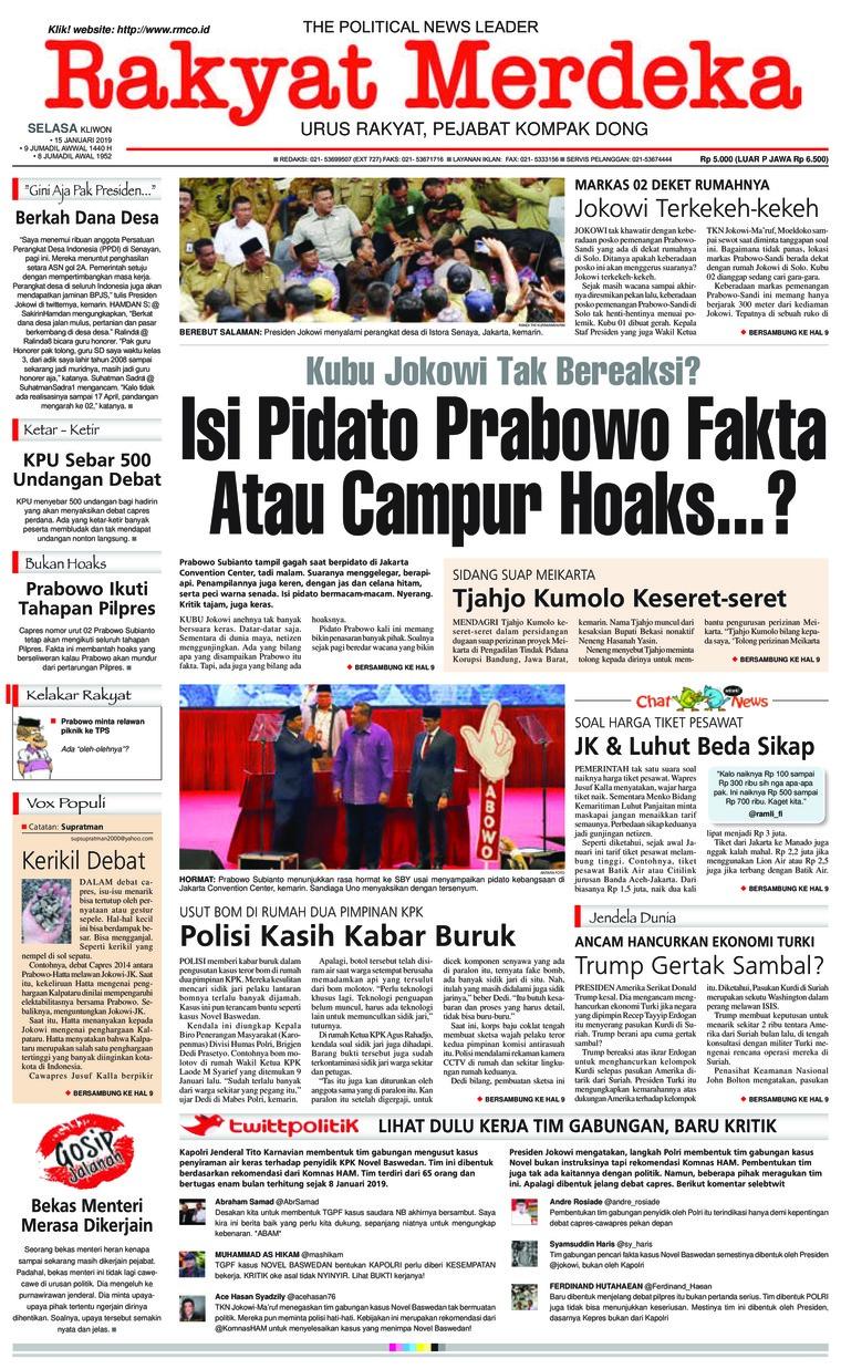 Rakyat Merdeka Digital Newspaper 15 January 2019