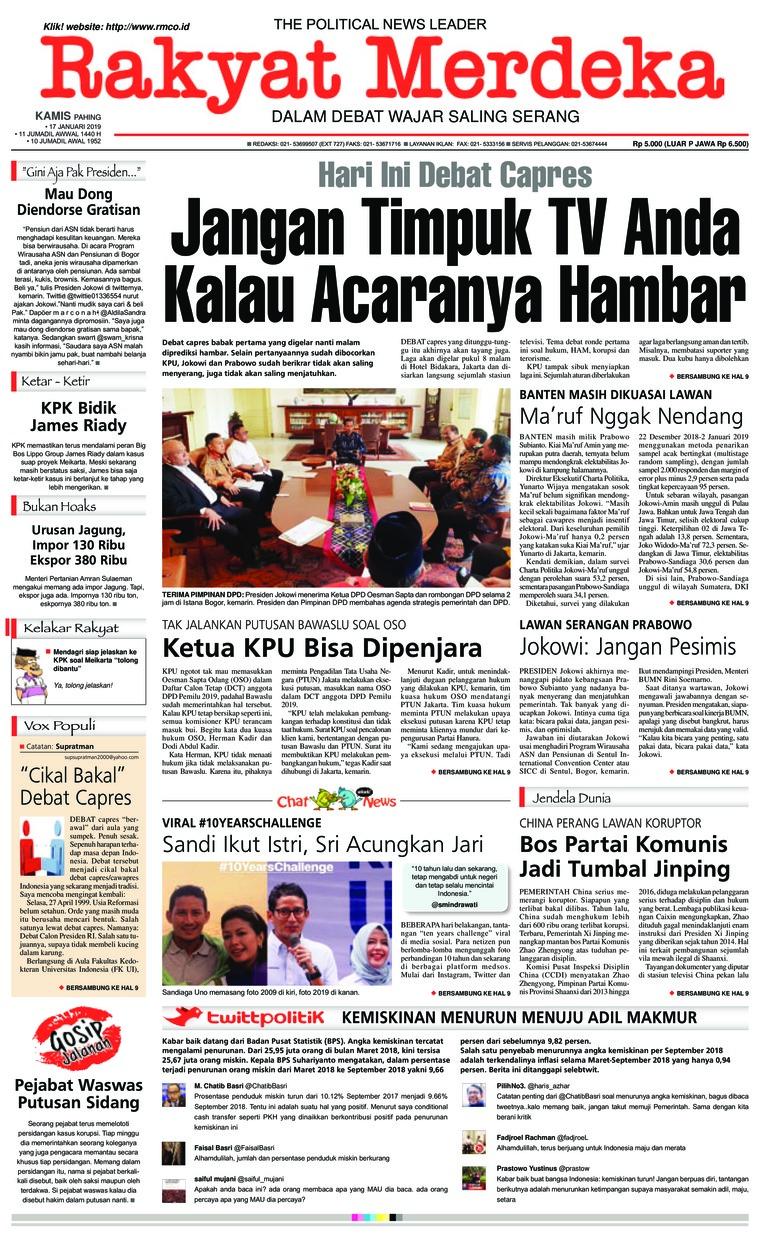 Rakyat Merdeka Digital Newspaper 17 January 2019