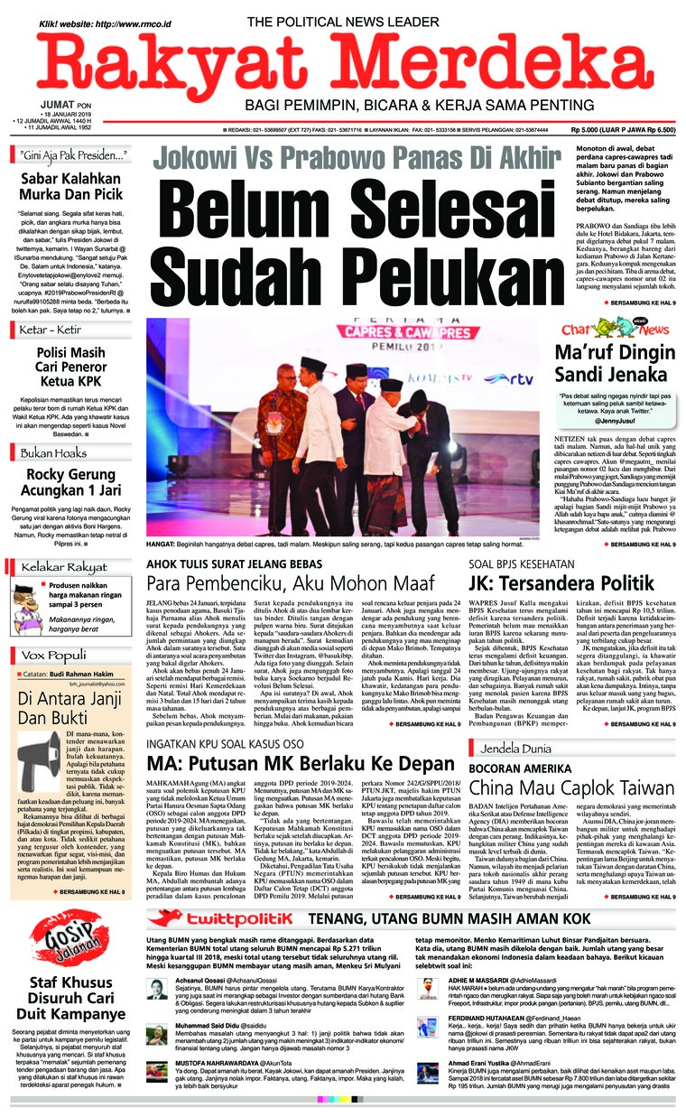 Rakyat Merdeka Digital Newspaper 18 January 2019