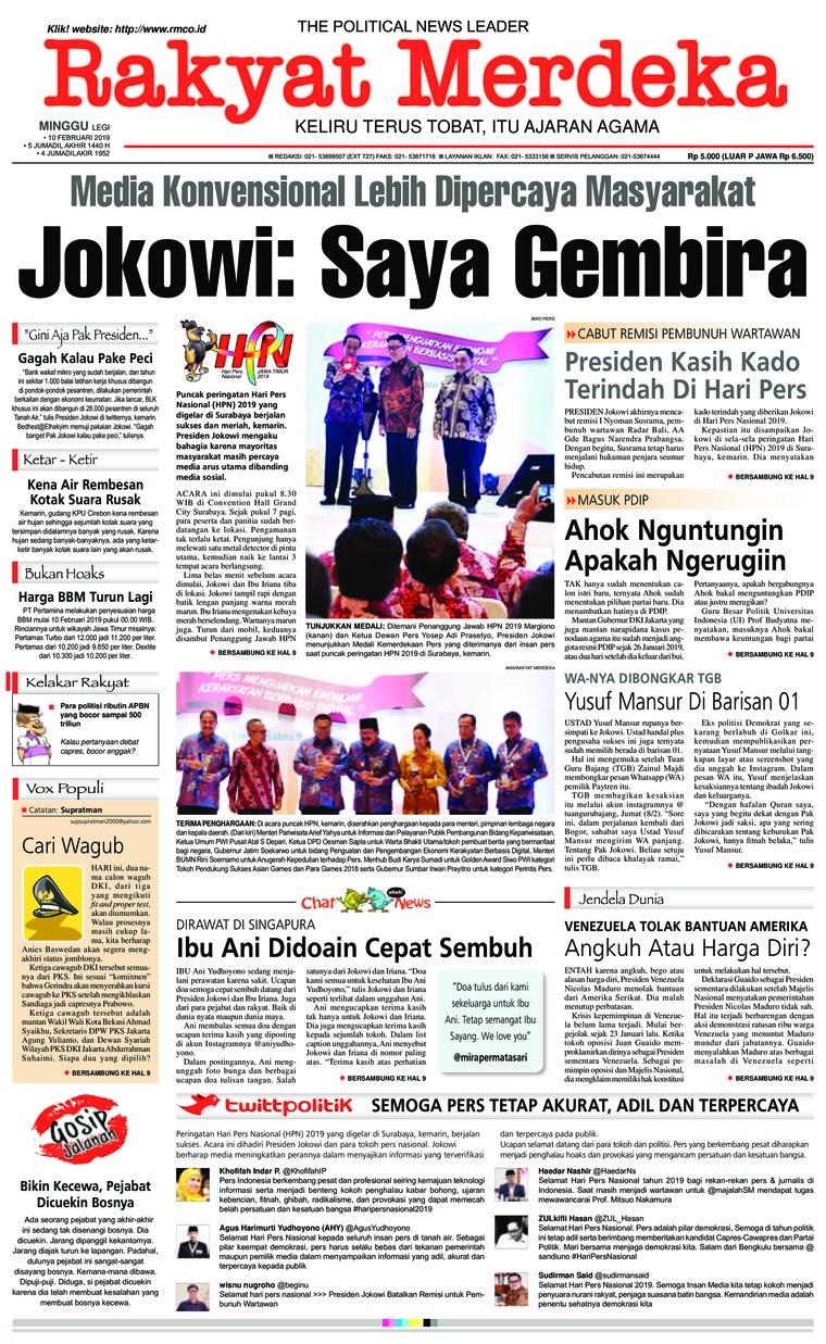 Rakyat Merdeka Digital Newspaper 10 February 2019