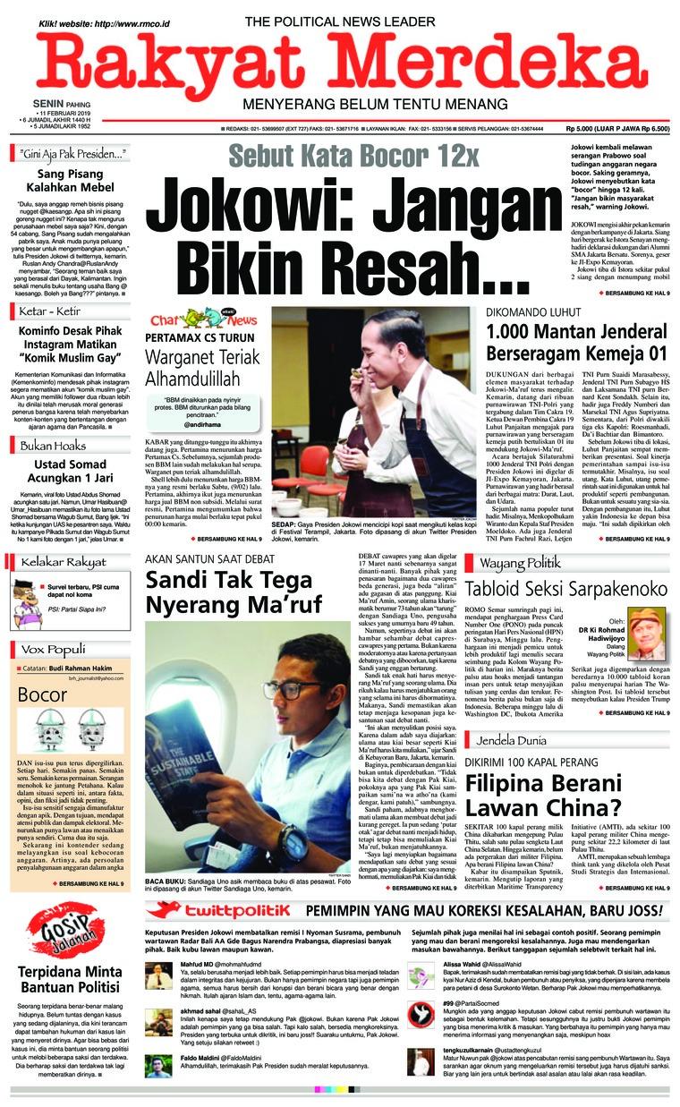 Koran Digital Rakyat Merdeka 11 Februari 2019