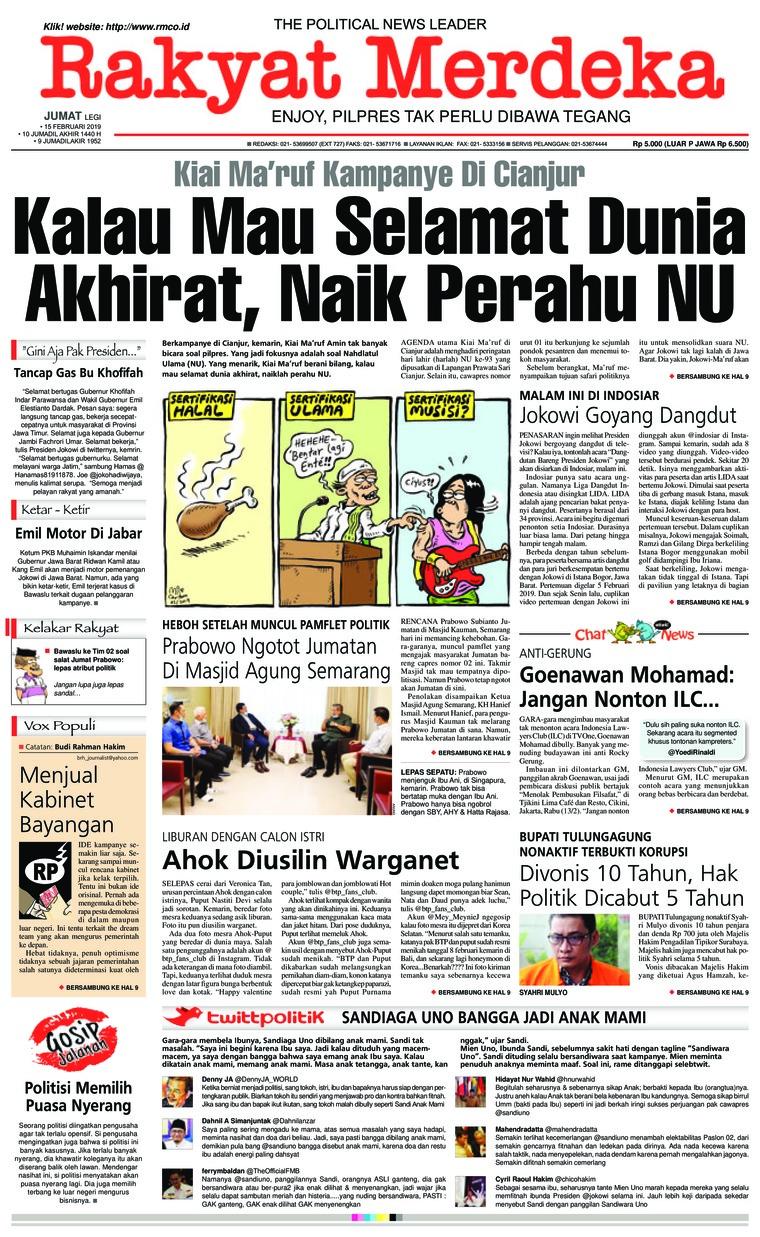 Rakyat Merdeka Digital Newspaper 15 February 2019