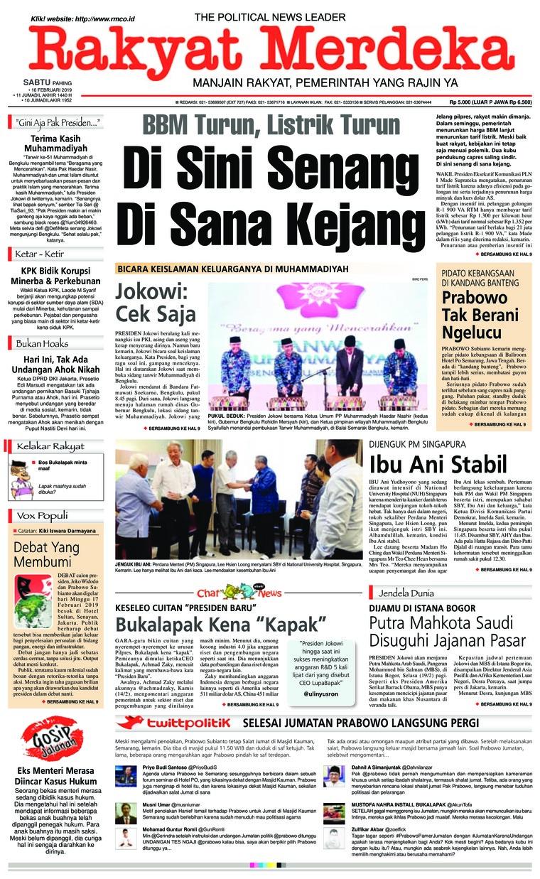 Rakyat Merdeka Digital Newspaper 16 February 2019