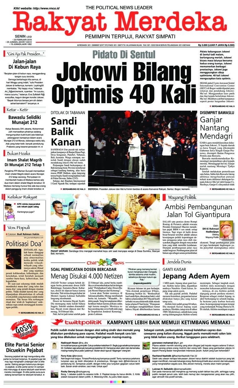 Koran Digital Rakyat Merdeka 25 Februari 2019