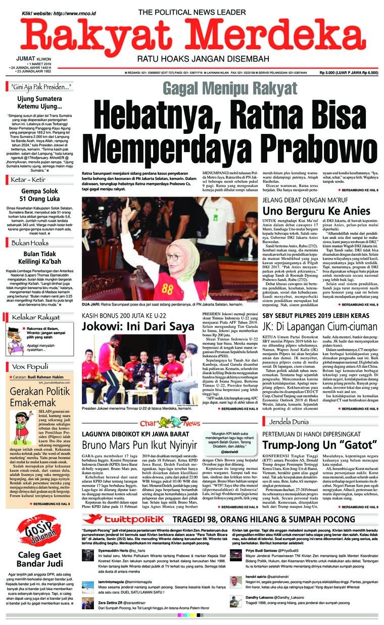 Rakyat Merdeka Digital Newspaper 01 March 2019