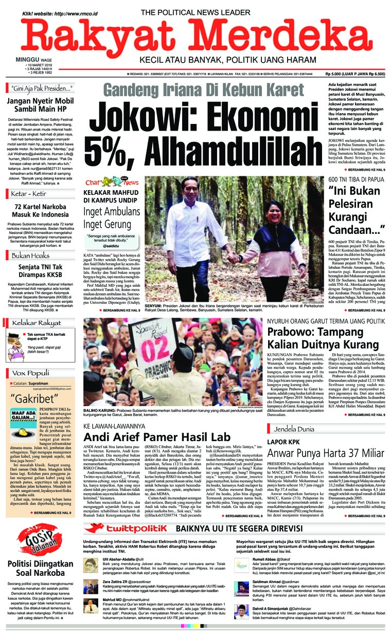 Rakyat Merdeka Digital Newspaper 10 March 2019