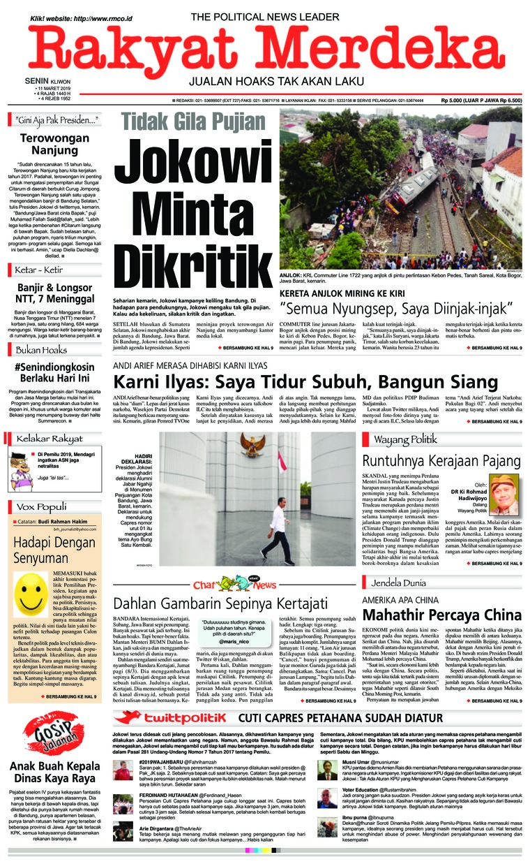 Rakyat Merdeka Digital Newspaper 11 March 2019