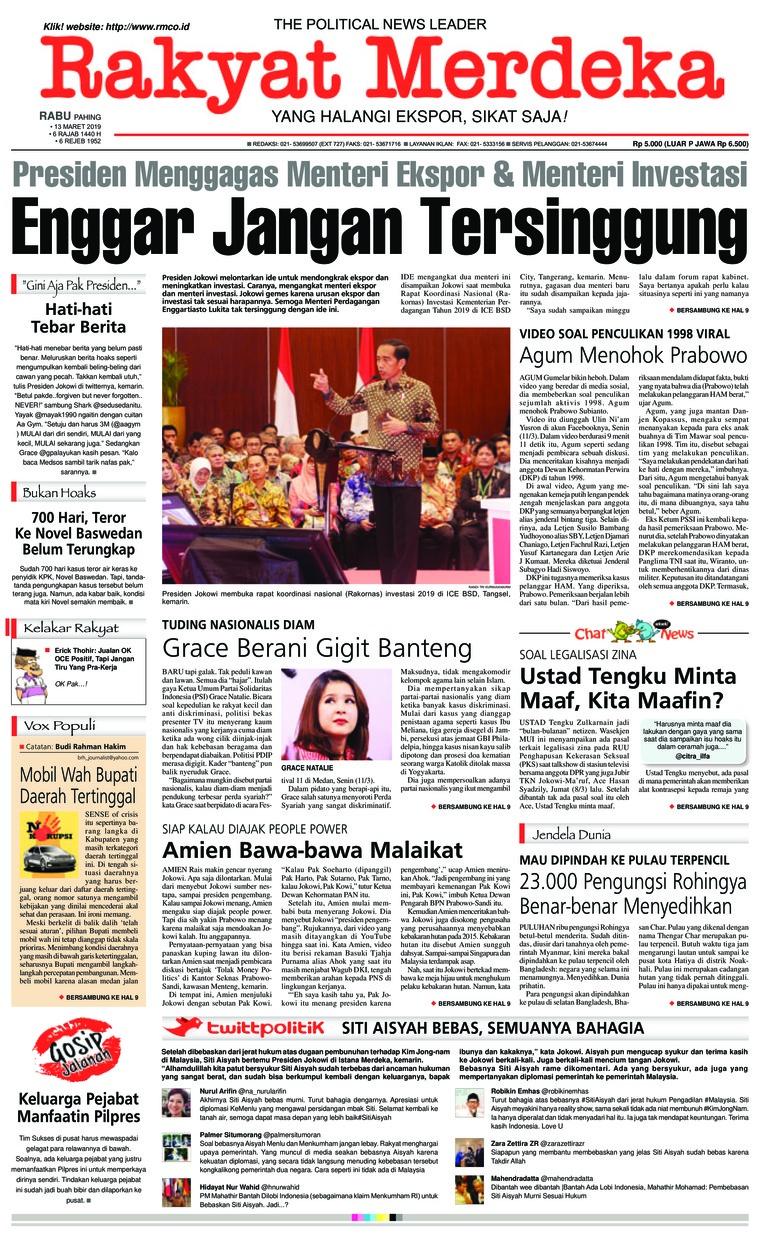 Rakyat Merdeka Digital Newspaper 13 March 2019