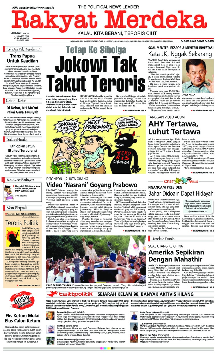 Rakyat Merdeka Digital Newspaper 15 March 2019