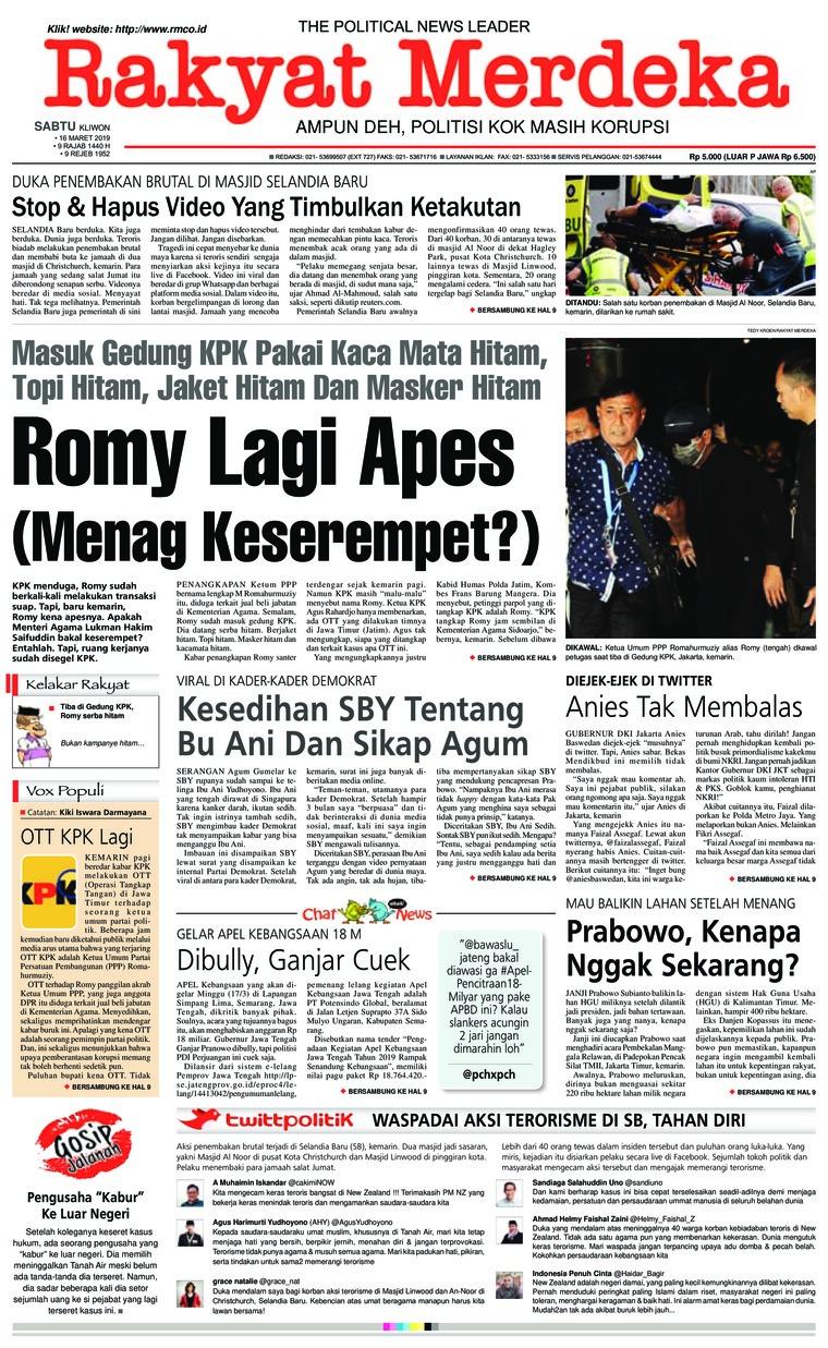 Rakyat Merdeka Digital Newspaper 16 March 2019