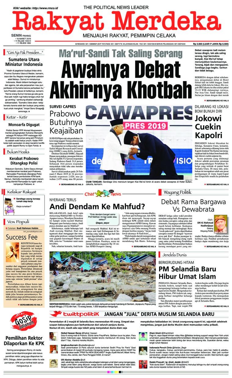Rakyat Merdeka Digital Newspaper 18 March 2019
