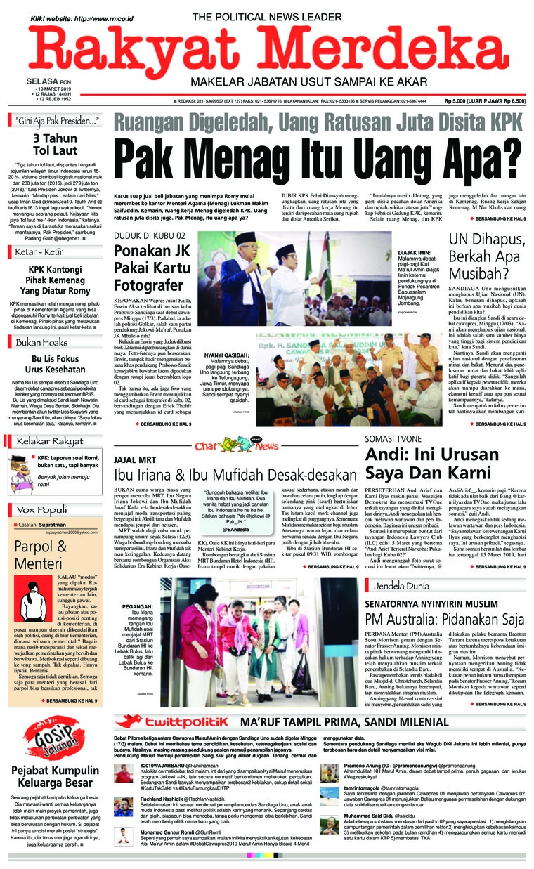 Rakyat Merdeka Digital Newspaper 19 March 2019