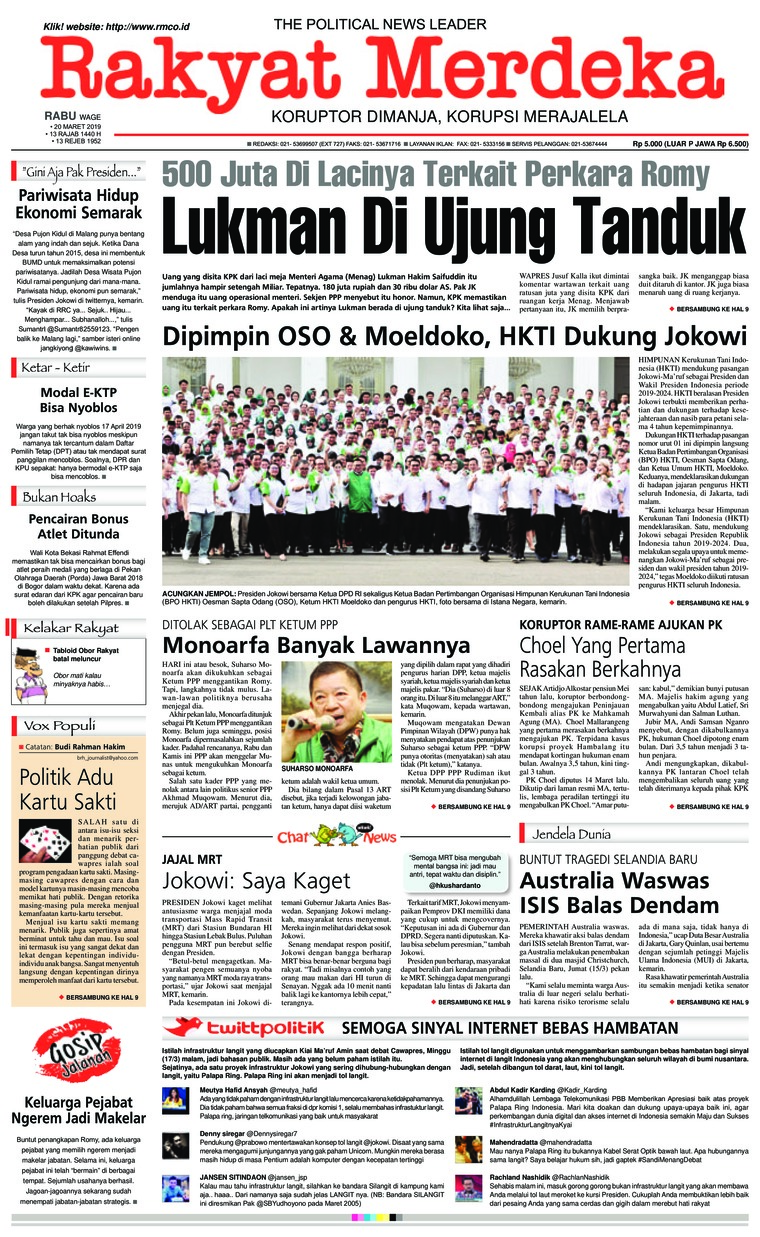 Rakyat Merdeka Digital Newspaper 20 March 2019