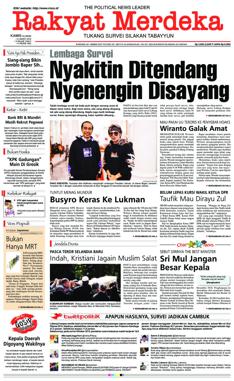 Rakyat Merdeka Digital Newspaper 21 March 2019