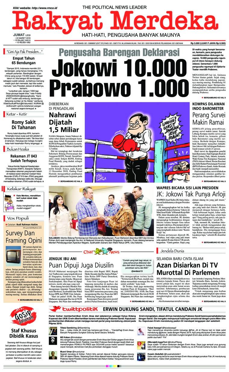 Rakyat Merdeka Digital Newspaper 22 March 2019