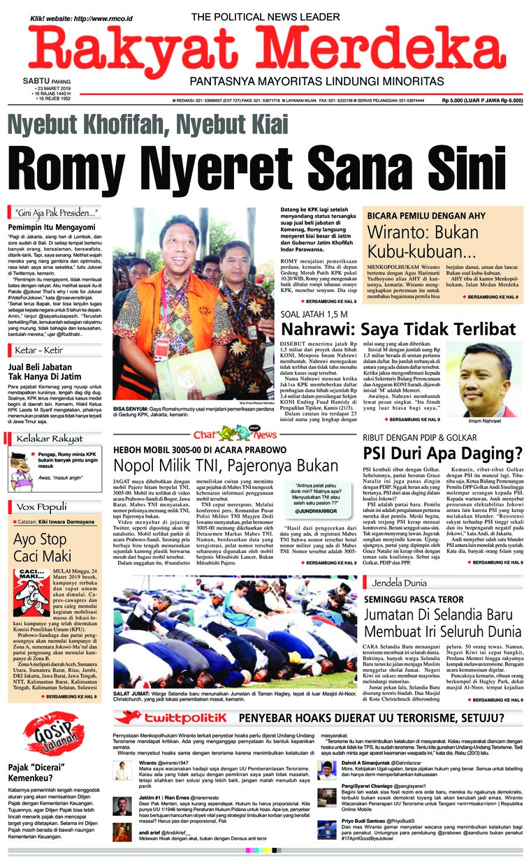 Rakyat Merdeka Digital Newspaper 23 March 2019