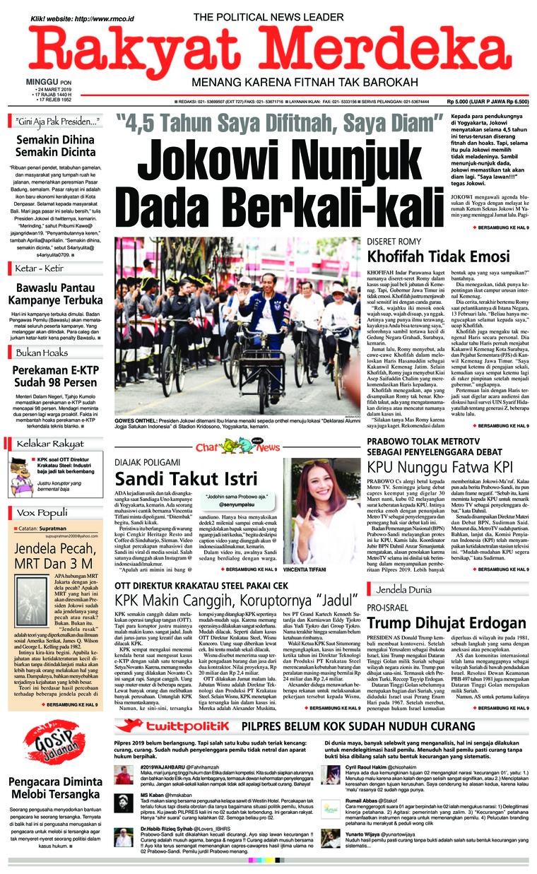 Rakyat Merdeka Digital Newspaper 24 March 2019