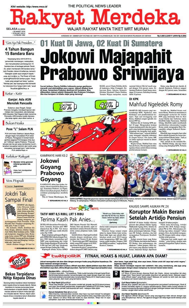 Rakyat Merdeka Digital Newspaper 26 March 2019