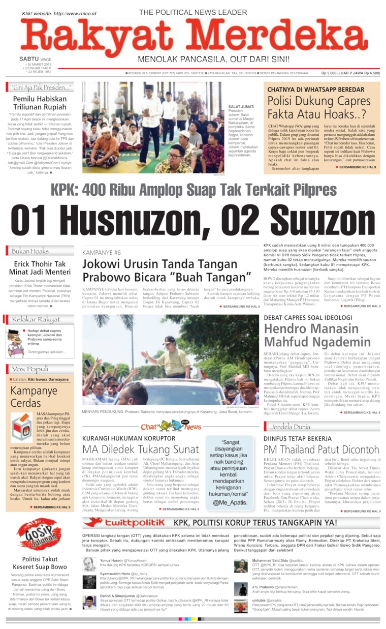 Rakyat Merdeka Digital Newspaper 30 March 2019