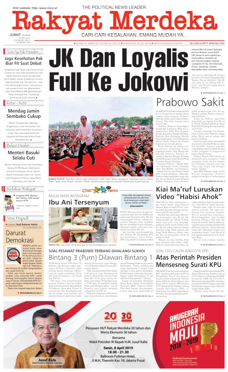 Rakyat Merdeka Digital Newspaper 05 April 2019