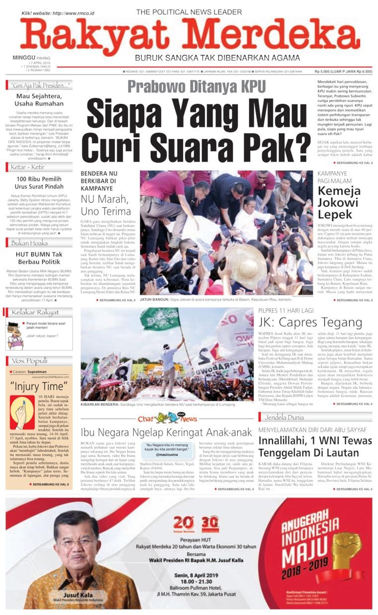 Rakyat Merdeka Digital Newspaper 07 April 2019