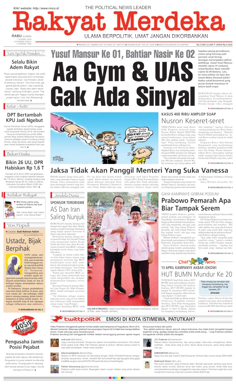 Koran Digital Rakyat Merdeka 10 April 2019