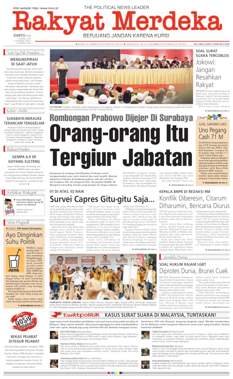 Rakyat Merdeka Digital Newspaper 13 April 2019