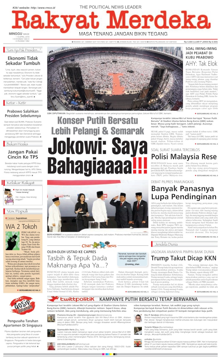 Rakyat Merdeka Digital Newspaper 14 April 2019