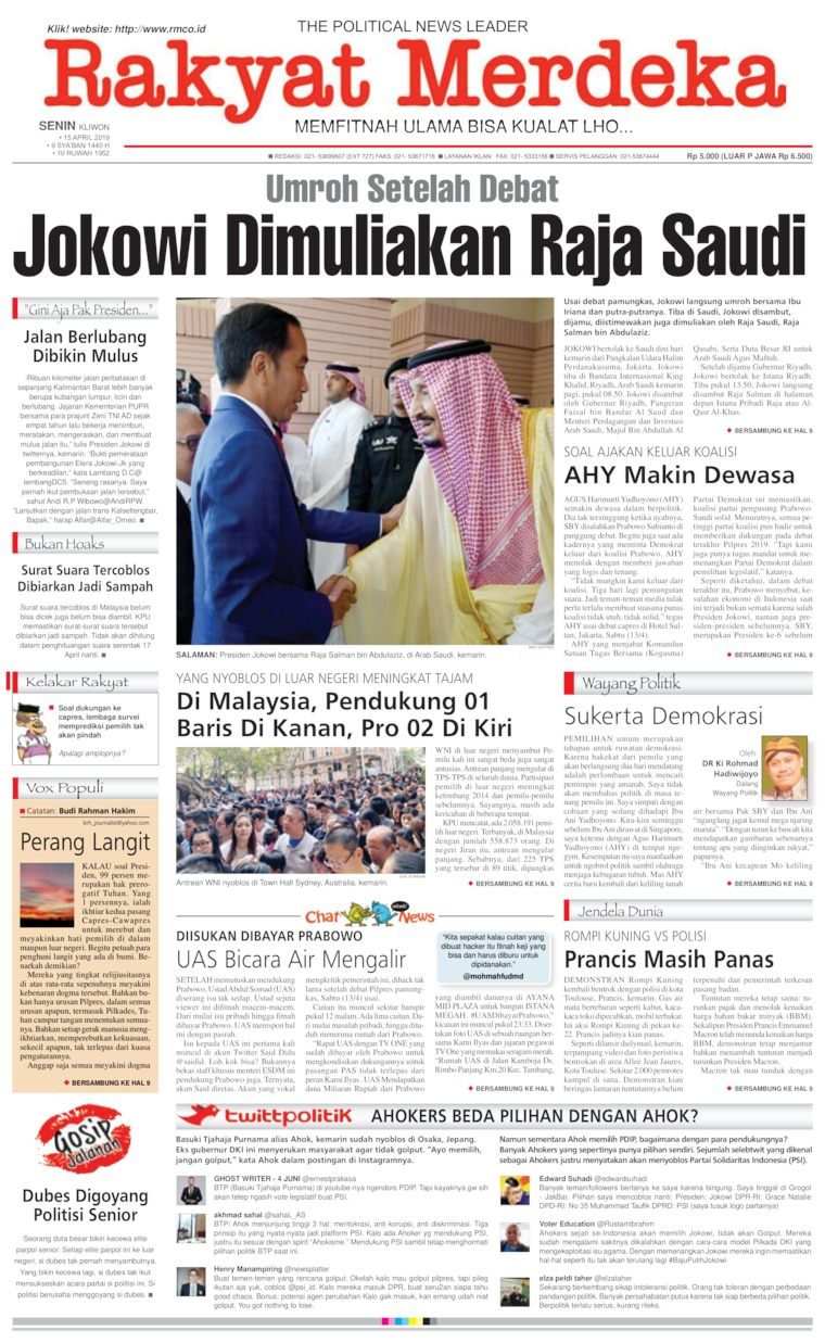 Rakyat Merdeka Digital Newspaper 15 April 2019