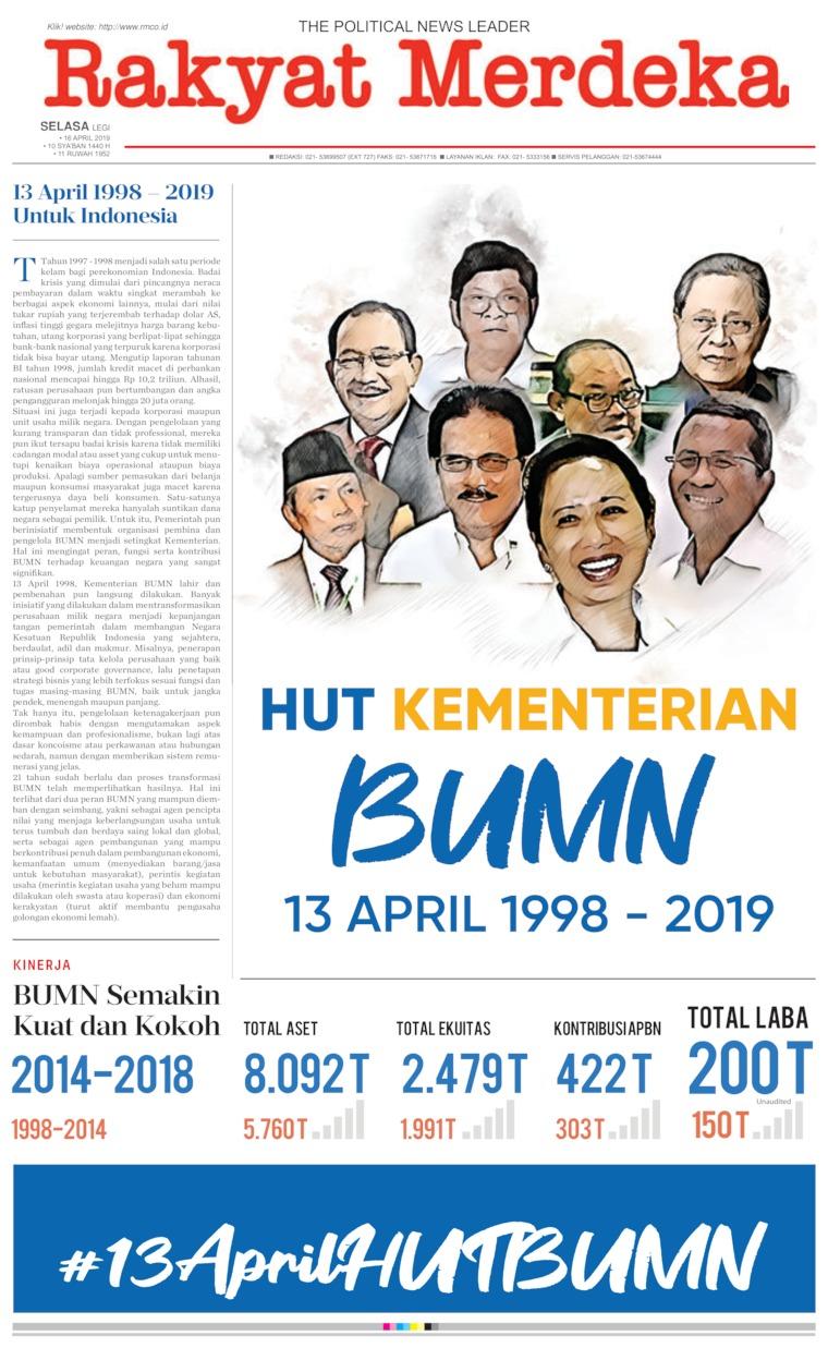 Rakyat Merdeka Digital Newspaper 16 April 2019