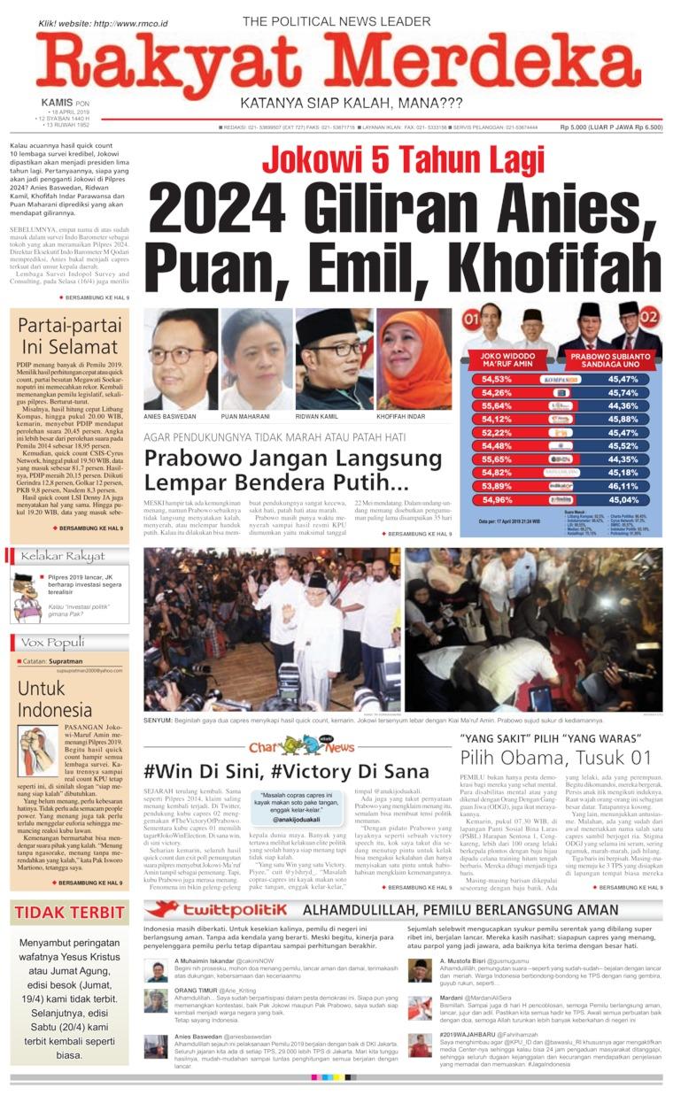 Koran Digital Rakyat Merdeka 18 April 2019