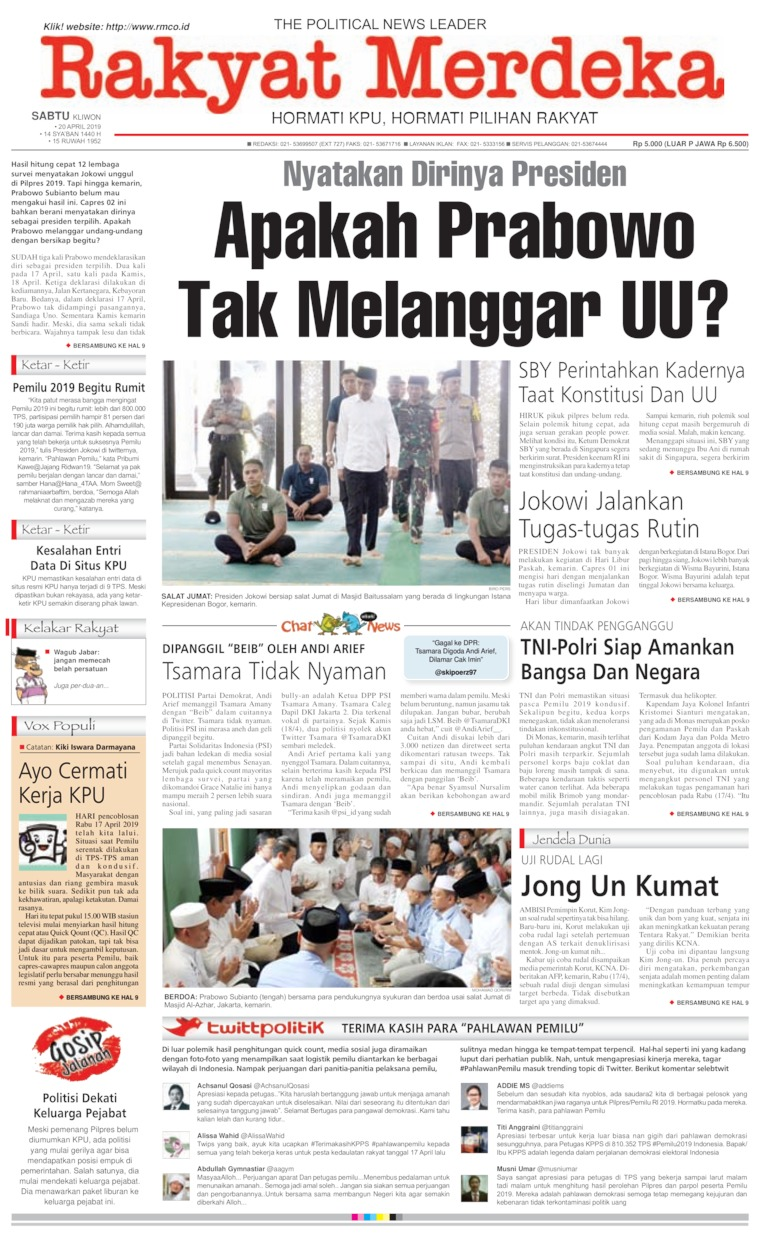 Rakyat Merdeka Digital Newspaper 20 April 2019