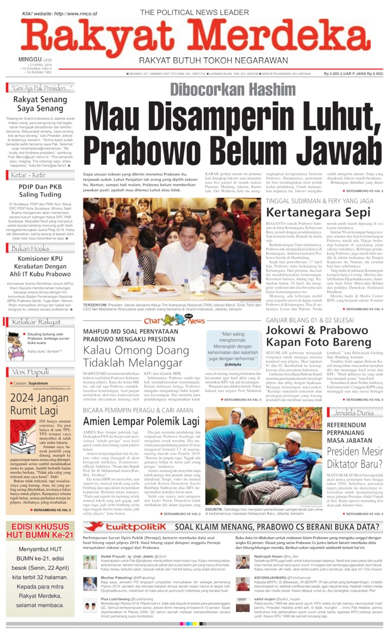 Rakyat Merdeka Digital Newspaper 21 April 2019
