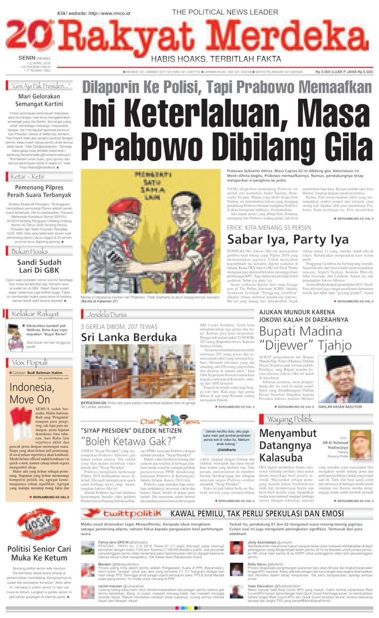 Koran Digital Rakyat Merdeka 22 April 2019