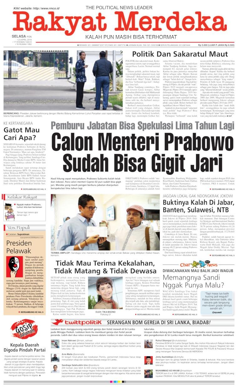 Koran Digital Rakyat Merdeka 23 April 2019
