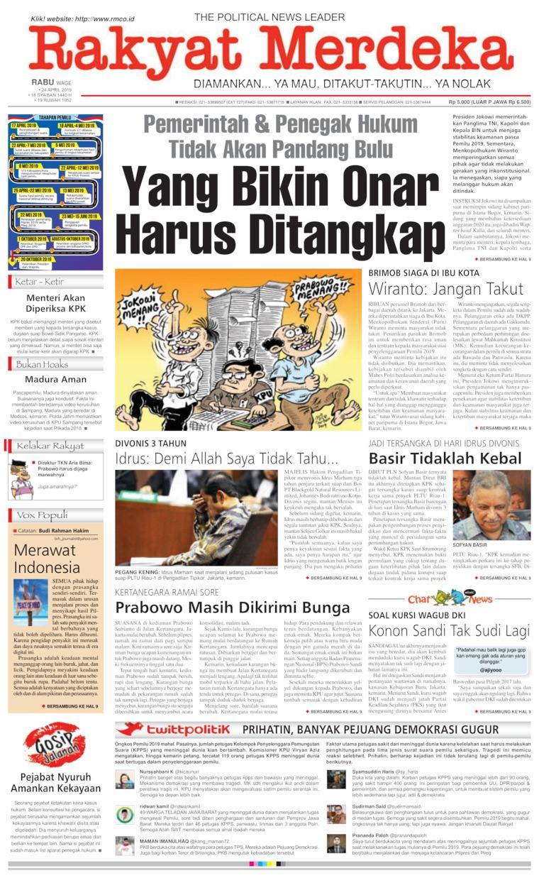 Rakyat Merdeka Digital Newspaper 24 April 2019