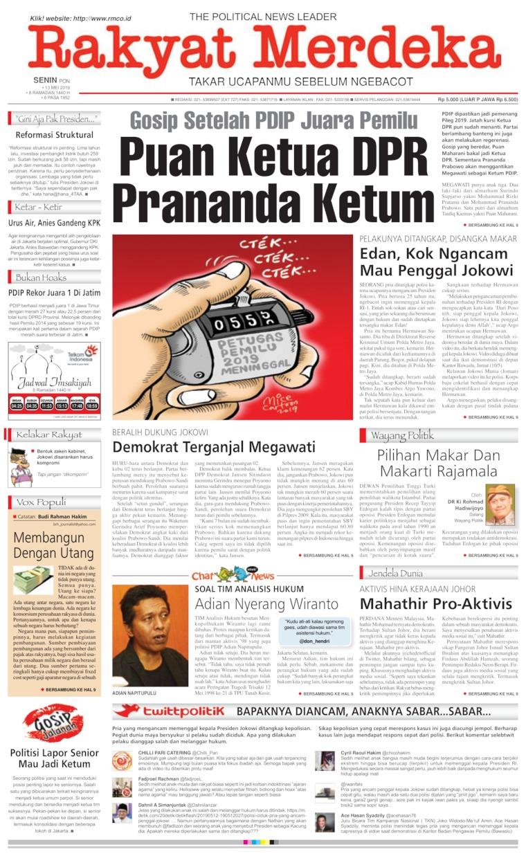 Koran Digital Rakyat Merdeka 13 Mei 2019