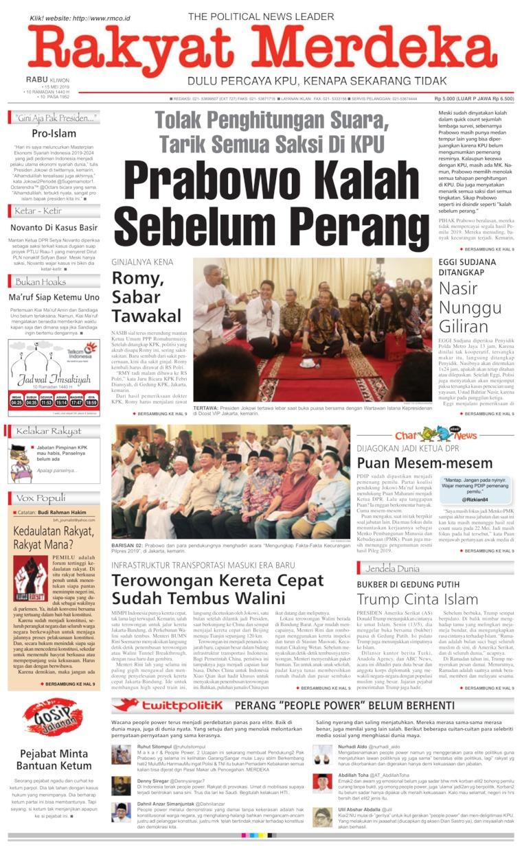 Rakyat Merdeka Digital Newspaper 15 May 2019