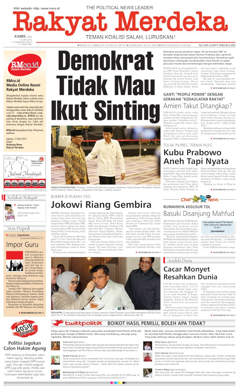 Rakyat Merdeka Digital Newspaper 16 May 2019
