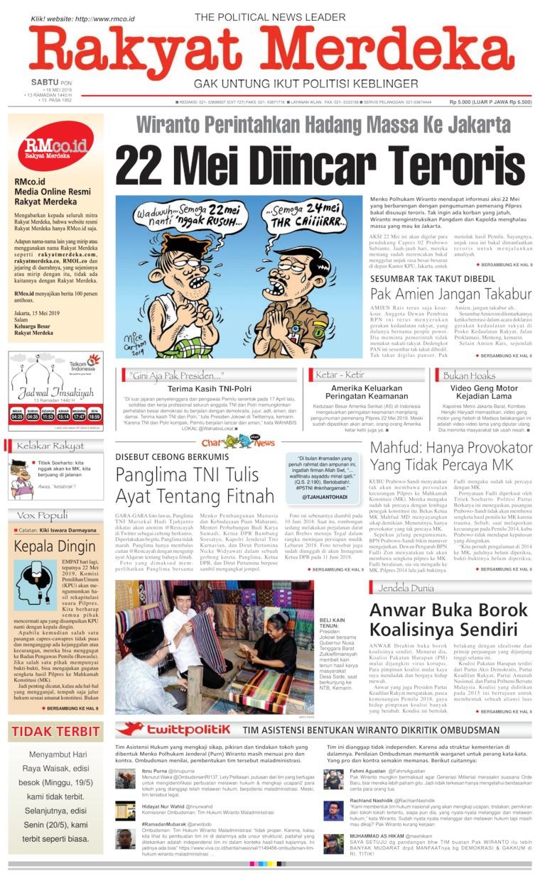 Koran Digital Rakyat Merdeka 18 Mei 2019