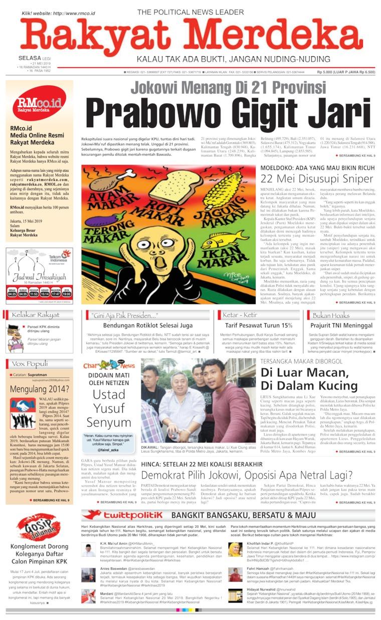 Rakyat Merdeka Digital Newspaper 21 May 2019