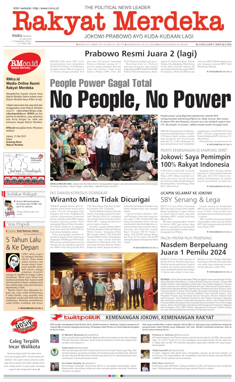 Rakyat Merdeka Digital Newspaper 22 May 2019