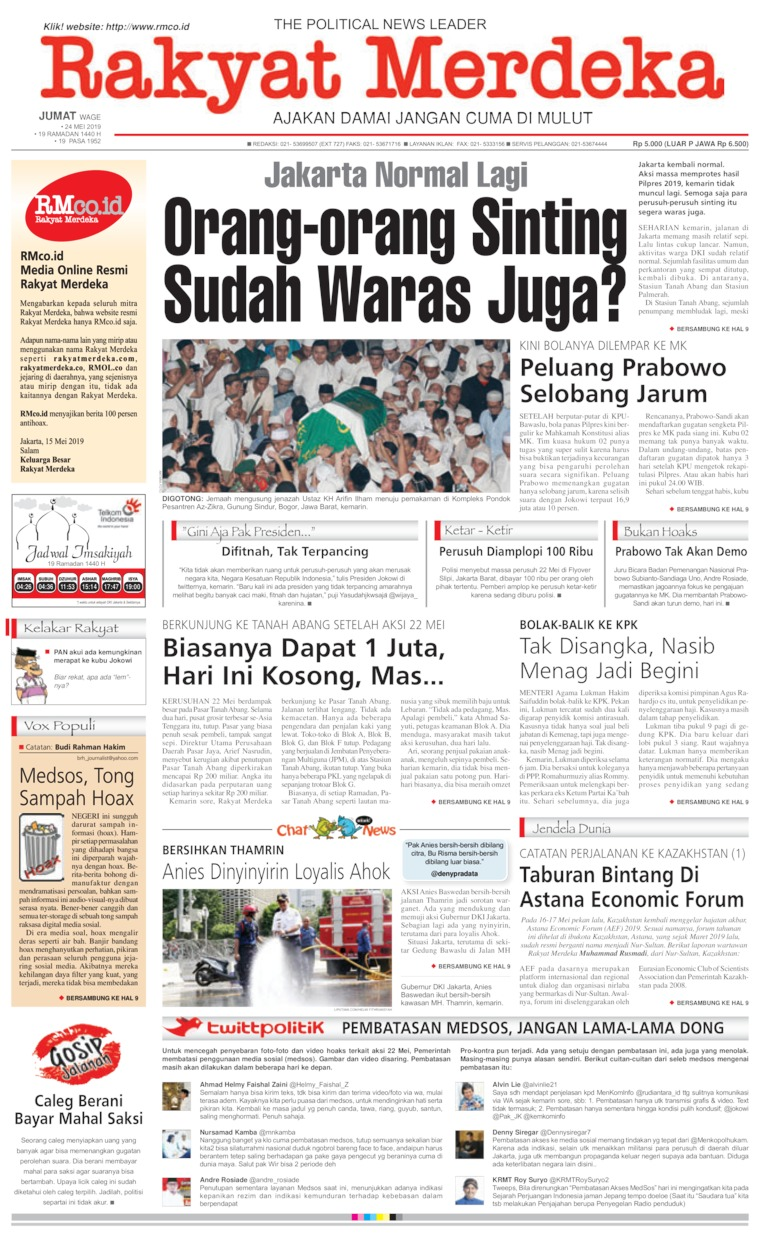 Rakyat Merdeka Digital Newspaper 24 May 2019