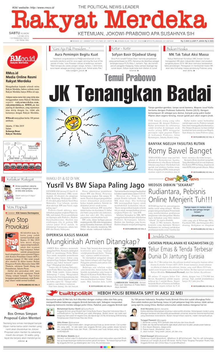 Rakyat Merdeka Digital Newspaper 25 May 2019
